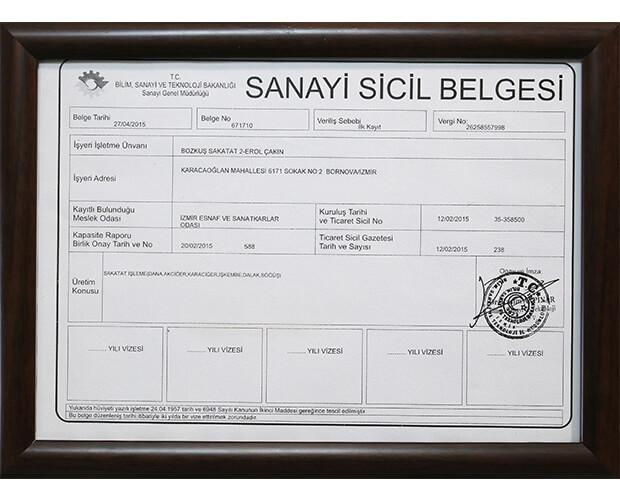 Bozkuş Sakatat Sanayi sicil belgesi